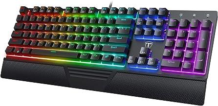 VicTsing Mechanical Gaming Keyboard – Full Outemu Blue Switches Computer Keyboard, Fantastic Backlit Keyboard with Ergonomic Wrist Rest, Full Anti-Ghosting Wired Keyboard for PC/MAC Games, Black