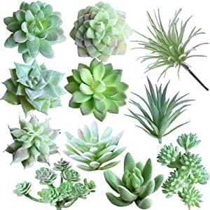 Zhiheng 11pcs Assorted Green Artificial Succulent Plants Faux Fake Succulents Textured Cactus Stems Cacti Aloe Succulent In Different Artificial Hanging String of Pearls Plant Wedding For Home Decor