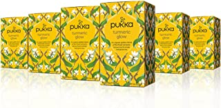 Pukka Turmeric Glow, Organic Herbal Tea with Lemon & Whole Leaf Green Tea (6 Pack, 120 Tea Bags)