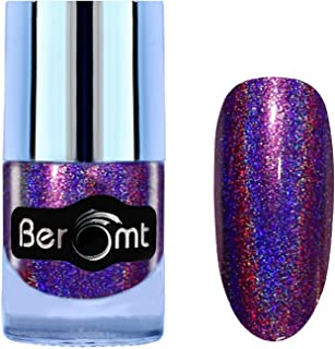 Beromt Holo Shining Lacquer Nail Varnish, Shimmer Gel Finished Nail Art, Rainbow Color Effect, Violet, 502, 10 ml