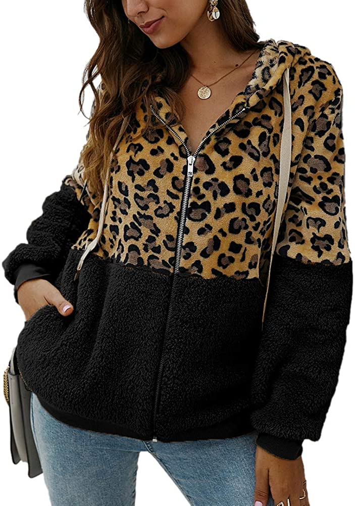SCORP Women's Leopard Clearance Surprise price SALE Limited time Printed Drawstring Fuzzy Hooded Zipper Jac