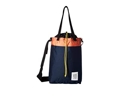 Topo Designs Cinch Tote (Navy/Coral) Tote Handbags
