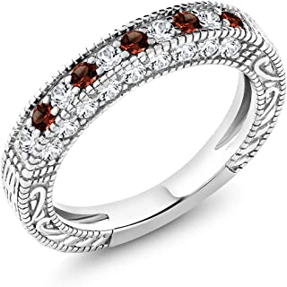 Gem Stone King 925 Sterling Silver Red Garnet & White Created Sapphire Ladies Anniversary Wedding Band Ring 1.00 cttw (Available 5,6,7,8,9)