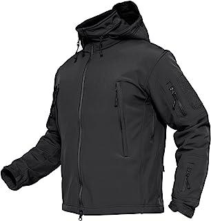MAGCOMSEN Men's Waterproof Windproof Softshell Fleece Army Tactical Outdoor Casual Jacket Coat with Hood