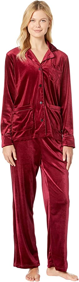 Velvet Long Sleeve Notch Collar Pajama Set