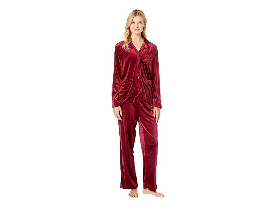 LAUREN Ralph Lauren Velvet Long Sleeve Notch Collar Pajama Set (Red) Women