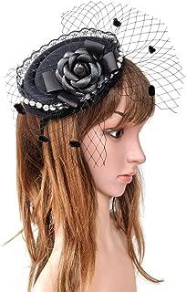 Fascinator Hair Clip Headband Pillbox Hat Victorian Lady Cameo Bowknot mesh Tea Party