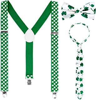 Whaline Shamrock Suspenders, Bowtie and Necktie for Holiday Party