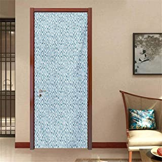 Greek Key Self-Adhesive Door Mural paperhome Decoration Tile Mosaic Pattern in Blue and White with Antique Meander and Camo Effect Traditional Sticker Baby Blue White W30 x H80 INCH