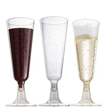 12 Packs Plastic Champagne Cups Flutes Gadgets for Birthday Banquet Club Bar