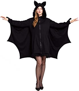 Woman's Black Bat Zip Hoodie Halloween Costumes for Adults