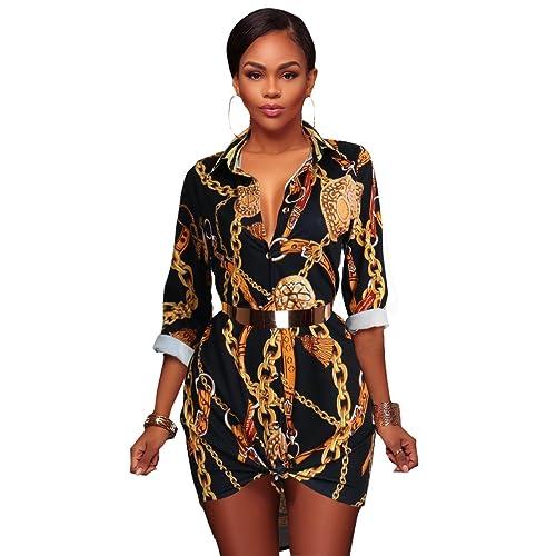 Button Down Shirt Dresses for Women - Long Sleeve Stretch Floral Print  Dashiki T Shirts Dress 06be867c0