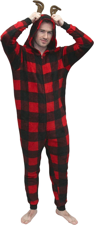 MJC International Adult Mens Womens Buffalo Check Plaid Onesie Pajama