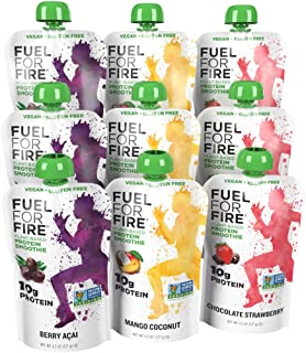 Fuel For Fire - NEW Dairy Free Variety (9 Pack) Fruit Smoothie Pouches   No Sugar Added, Lactose Free, Plant Protein Fruit Smoothies   Great On the Go Protein   3 New Vegan Flavors!