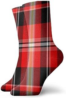 Kevin-Shop, Calcetines Unisex Fun Dress - ColoridosFunky Socks - Calcetines Rojos a Cuadros Buffalo