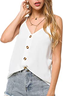 Women's Fashion Button Down V Neck Sleeveless Strappy Shirts Tops
