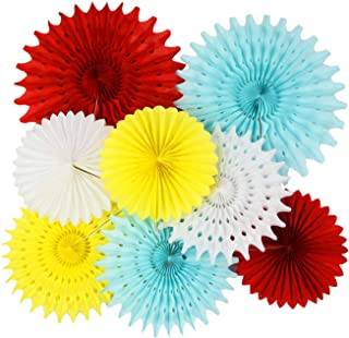 Circus Party Supplies Carnival Party Supplies/Carnival Birthday Party Ideas/Yellow Blue White Red Tissue Paper Fans for Baby Shower Decorations Greatest Showman Party Decorations