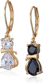 Betsey Johnson (GBG) CZ Cat Drop Earrings, Crystal/Black, One Size