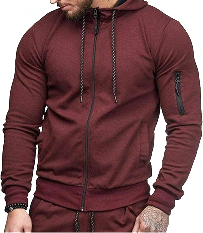 Men's Sweatshirts Cozy Cardigan Mens Athletic Hoodies Long Sleeve Sport Sweatshirt Drawstring Gym Pullover with Pocket