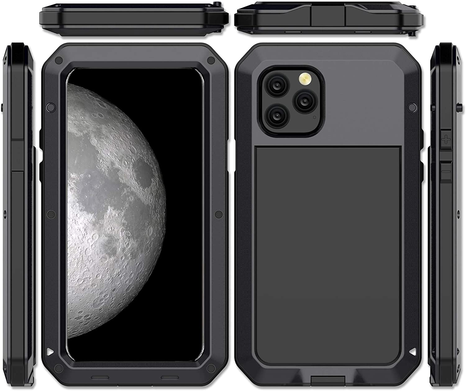 CarterLily iPhone 11 Case, Full Body Shockproof Dustproof Waterproof Aluminum Alloy Metal Gorilla Glass Cover Case for Apple iPhone 11 6.1 inch (Black)