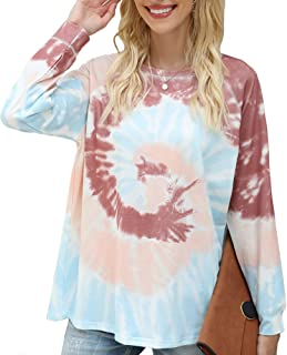 Womens Casual Color Block Tie Dye Long Sleeve Loose Pullover Sweatshirt Tops