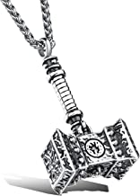 LineAve Men's Stainless Steel Large Thors Hammer Vikings Pendant Necklace