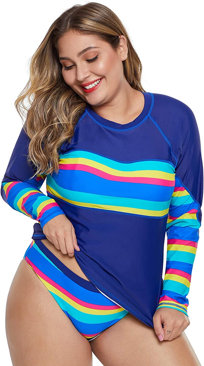 Women's Split Surf Suit QuickDrying Bikini Sunscreen LongSleeved Striped Large Size Swimsuit Diving Suit with A Swimming Goggles