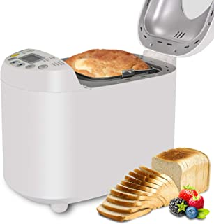 Automatic Bread Maker 2LB Programmable Bread Machine With Gluten Free Sitting, LED Display, Visual Menu (19 Programs, 3 Loaf Sizes, 3 Crust Colors, 15 Hours Delay Timer, 1 Hour Keep Warm) (White)