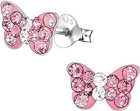 Hypoallergenic Sterling Silver Crystal Butterfly Stud Earrings for Kids (Nickel Free)