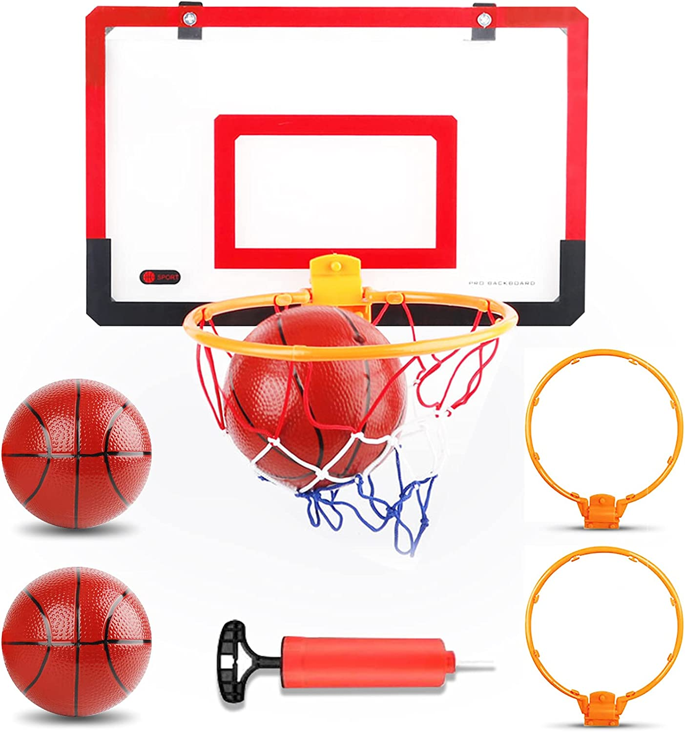 Mini Basketball Hoop for Kids Located on The Door and Wall-Mounted Indoor Basketball Hoop with Complete Accessories Basketball Toys Toddler Activity Play Toys for Boys and Teens as Gift: Sports & Outdoors