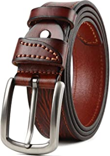 Mens Dress Belt,Full Grain Leather Belt,Single Prong Big Buckle - for Casual Jeans,Brown