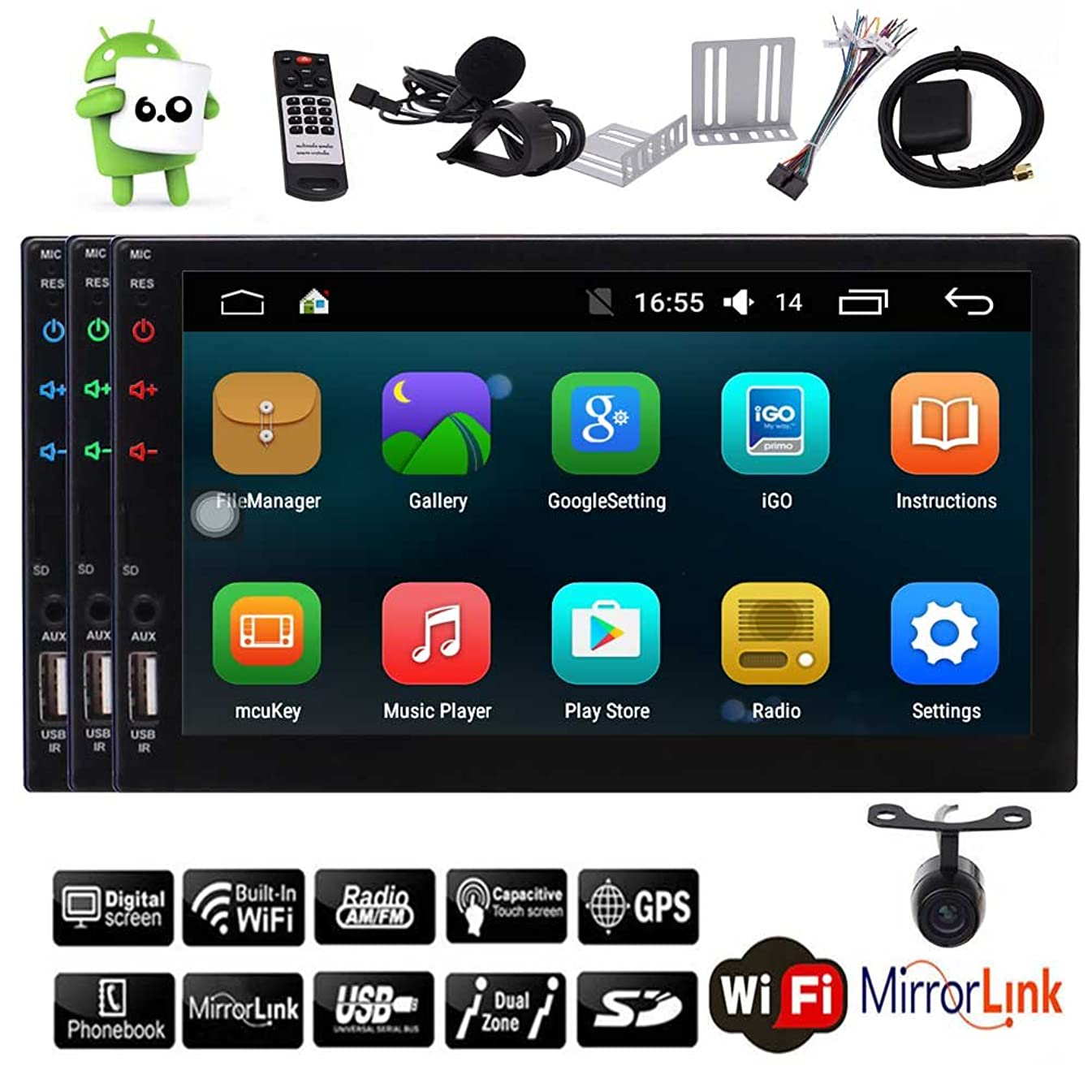 Android 6.0 Double GPS Satellite Double Din in Dash Autoradio Car Stereo GPS Navigation Hands Free Bluetooth Audio Video USB/SD Colorful Key Lights Automotive Head Unit +Rear Camera