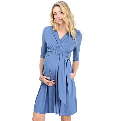 9d4833de03eca LaClef Women's Maternity Wrap Dress with Tie Waist Belt
