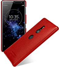 TETDED Premium Leather Case for Sony Xperia XZ2 H8216 H8296 Dual SIM, Snap Cover (Red)
