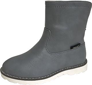 [アマート] ジュニア 折り返し 2way ハーフ ブーツ 長靴 雨靴 防水 通学 親子 ファミリー ガールズ ボーイズ 3色 AMT-3201 (22.0 cm, グレー)