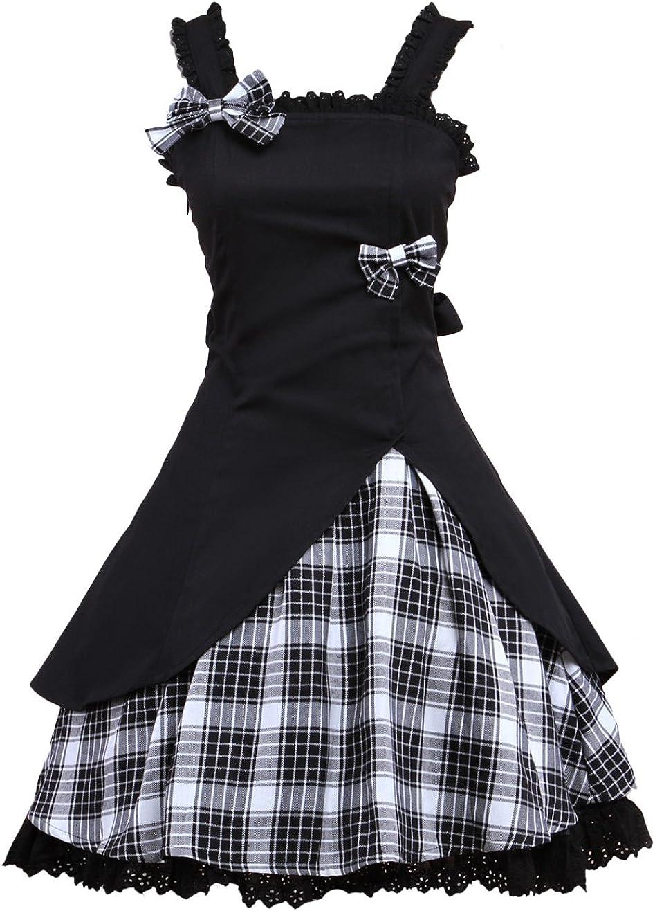 Hugme Classic Black Straps Neck Bow Cotton Lolita Jumper Skirt