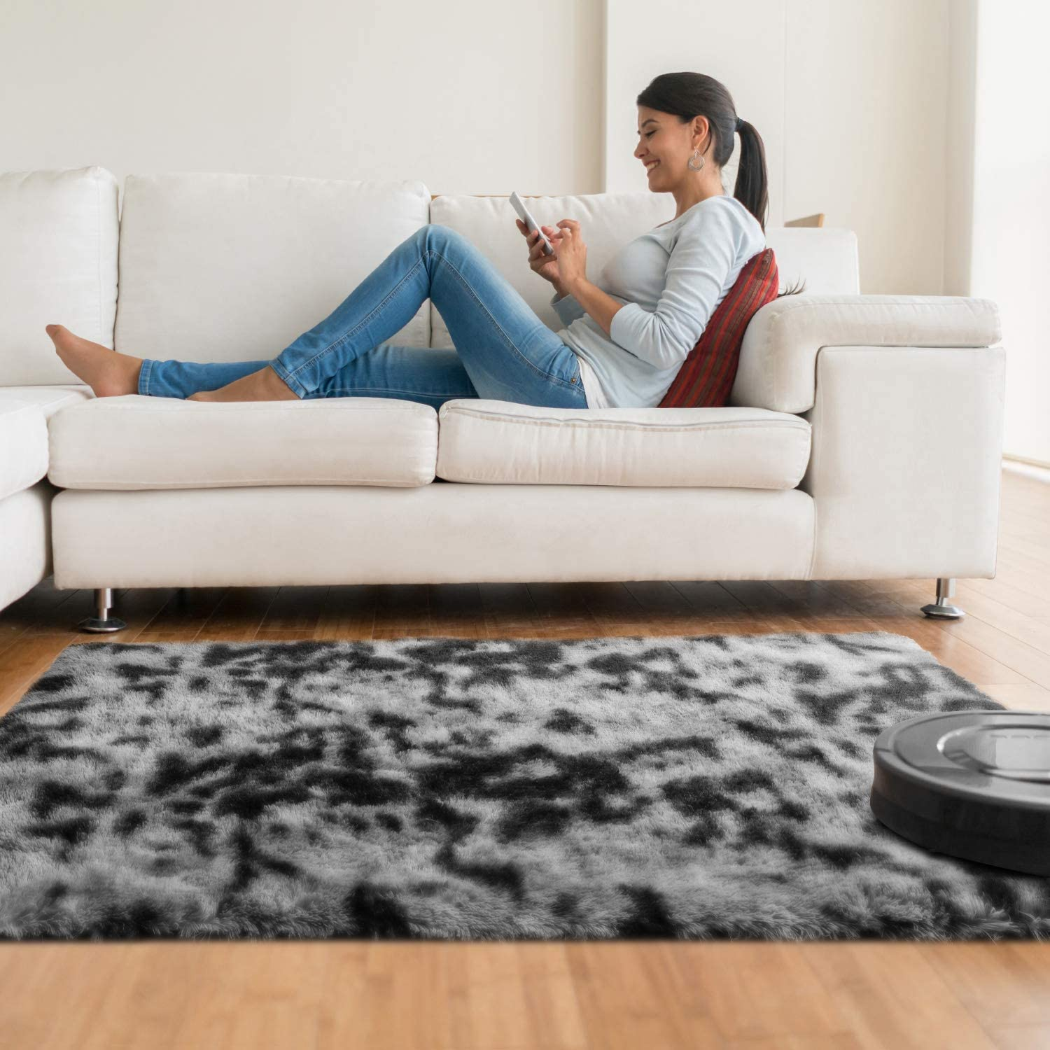 Girls Room and Nursery 4x5.3 Feet Black//Grey Luxury Shag Rug Faux Fur Non-Slip Tie-Dyed Floor Carpet for Bedroom Baby Room Kids Room Ophanie Ultra Soft Fluffy Area Rugs for Living Room