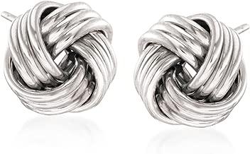 Ross-Simons 14kt White Gold Love Knot Stud Earrings