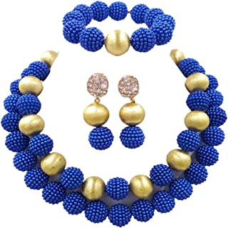aczuv Nigerian Wedding African Beads Red Jewelry Sets for Women Simulated Pearl Necklace and Earrings
