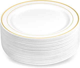 50 Plastic Disposable Dessert/Appetizer Plates   7.5 inches White with Gold Rim Real China Look   Ideal for Weddings, Parties, Catering   Heavy Duty & Non Toxic (50-Pack) by BloominGoods