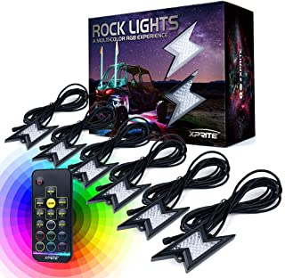 Xprite 6pc RGB LED Rock Lights with Wireless Remote Control, Flashing, Auto Scroll Modes, Multicolor Lightning Pods Kit for Underglow Off Road Truck JEEP UTV ATV SUV - Z-Force (Patent Pending Design)