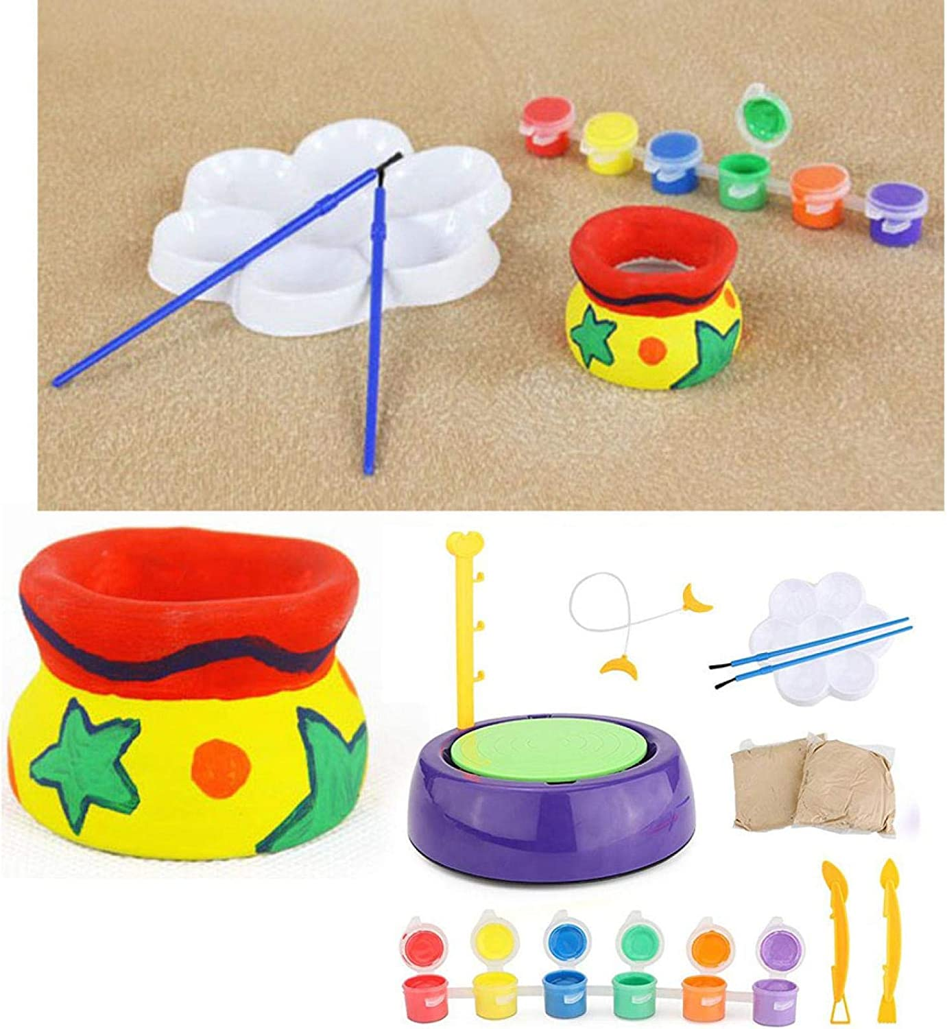 Ceramic Machine with Clay for Beginners Owill Pottery Wheel for Kids DIY Educational Toy Christmas Birthday Gift for Boys Girls Pottery Studio Studio Clay Craft Kit Pottery Wheel Kit