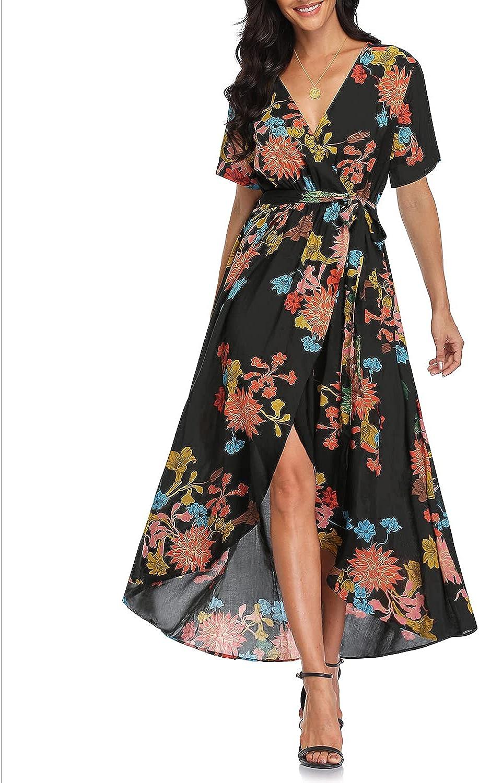 Women's Wrap V Neck Floral Print High Low Hem Short Sleeve Beach Party Maxi Dress