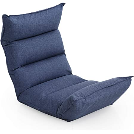 LOWYA ロウヤ 座椅子 低反発 42段ギア 3ポイント可動 リクライニング ソファ生地 ネイビー