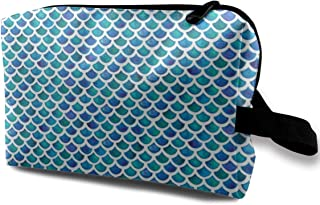 Mermaids In Blue And Green Travel Makeup Cute Cosmetic Case Organizer Portable Storage Bag for Women