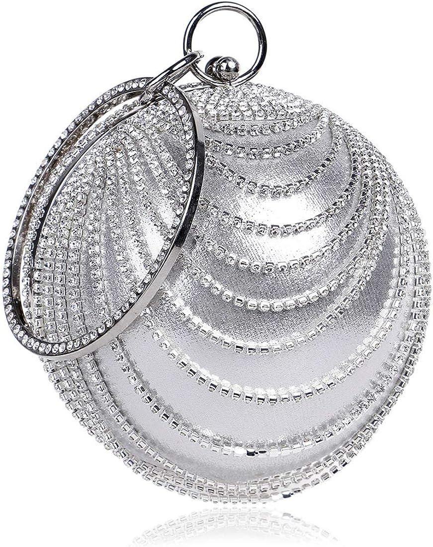 Flada Women's Ball Cheap mail order shopping Shape Crystal Purse Max 67% OFF Evening Clutch Pa Wedding