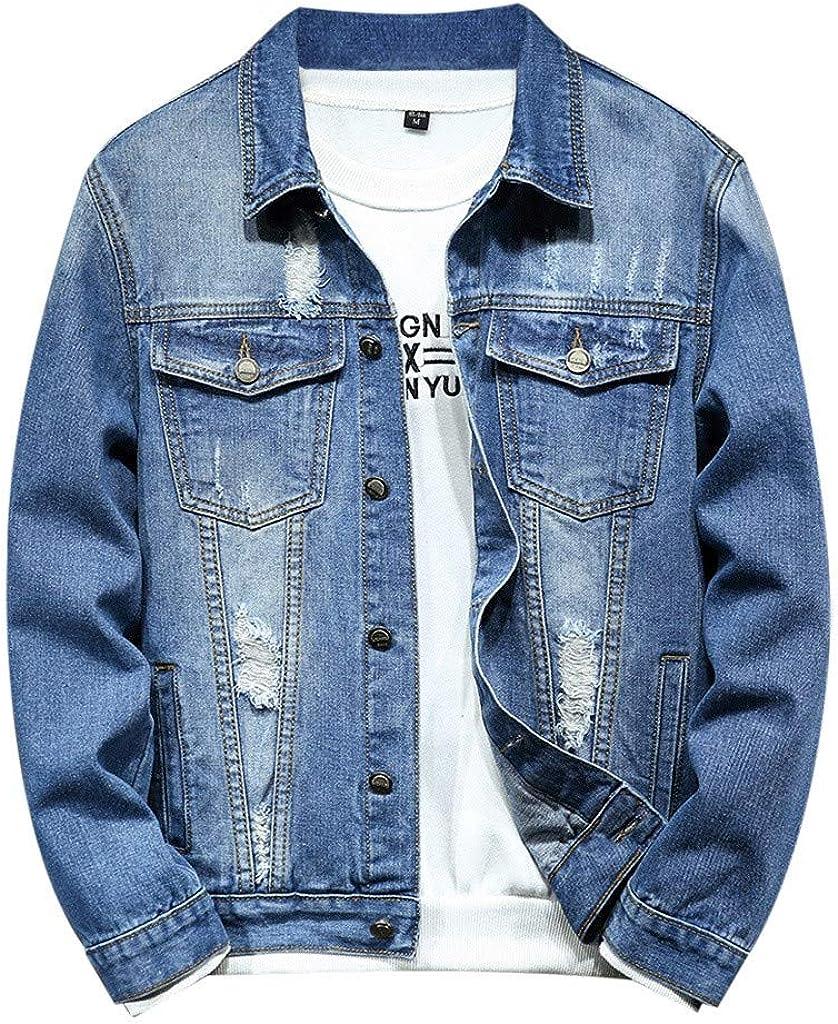 MODOQO Men's Jean Coat Long Sleeve Lapel Collar Denim Jacket for Autumn Winter
