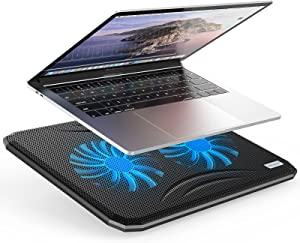 Laptop Cooling Pad, Ultra Slim Portable USB Powered Notebook Cooler Stand Holder Riser Chill Mat with 2 Quiet Blue LED Fans, Up to 17 Inch (Black+Blue)