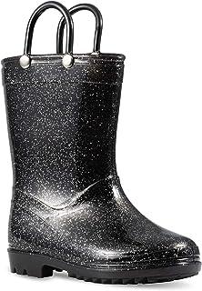 Lilly of New York Children's Glitter Rain Boots for Little Kids & Toddlers, Boys & Girls (1 Little Kid, Black Glitter)