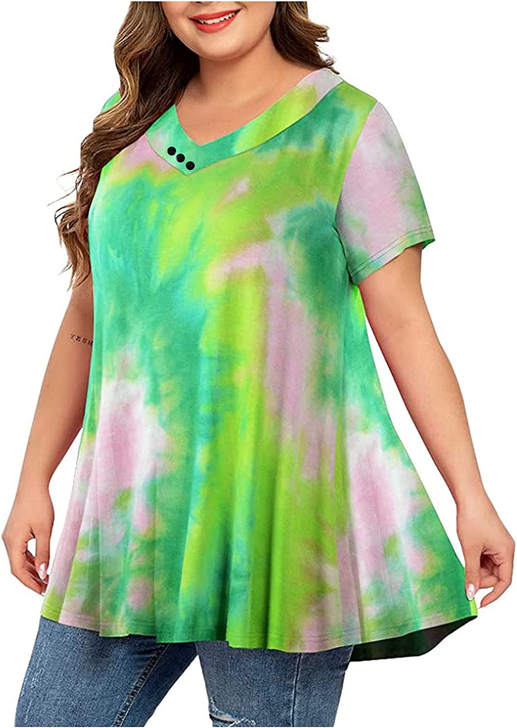 Plus Size Tops for Women Tie Dye Shirt Loose Comfy Blouse Tees V Neck T Shirts Summer Tunic Casual Pullover